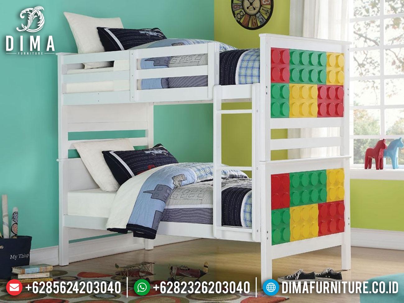 Desain Lego Tempat Tidur Anak Tingkat Minimalis Grade A Solid Wood Mm-0838