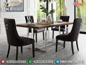 Desain Meja Makan Minimalis Modern Stainless Steel Luxury High Quality MM-0820
