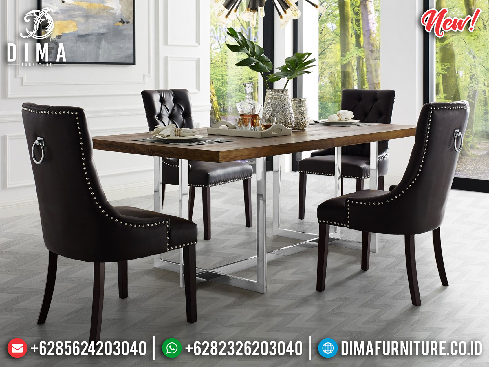Desain Meja Makan Minimalis Modern Stainless Steel Luxury High Quality MM-0820