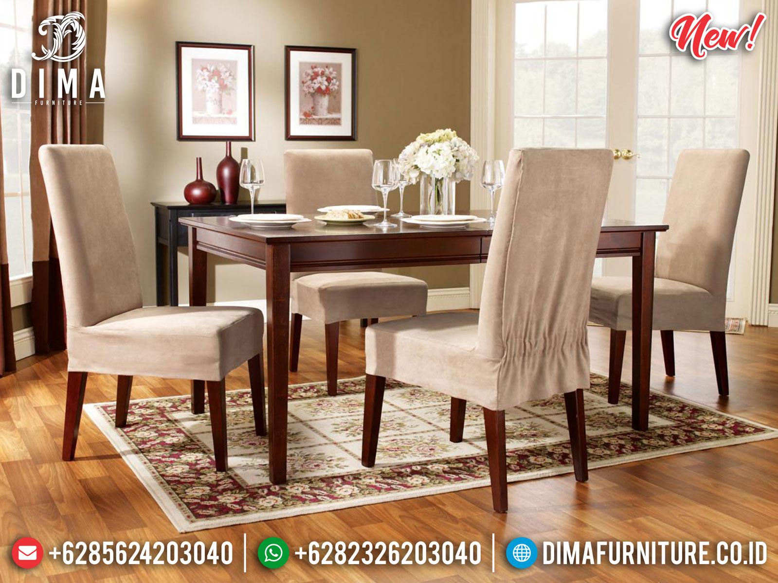 Design Inspiring Meja Makan Minimalis Classic Natural Jati Perhutani Jepara MM-0824