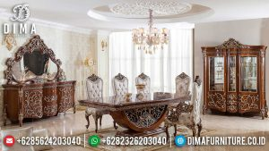 Harga Meja Makan Mewah Jati Natural Classic Majestic Room Design New Furniture Jepara MM-0781