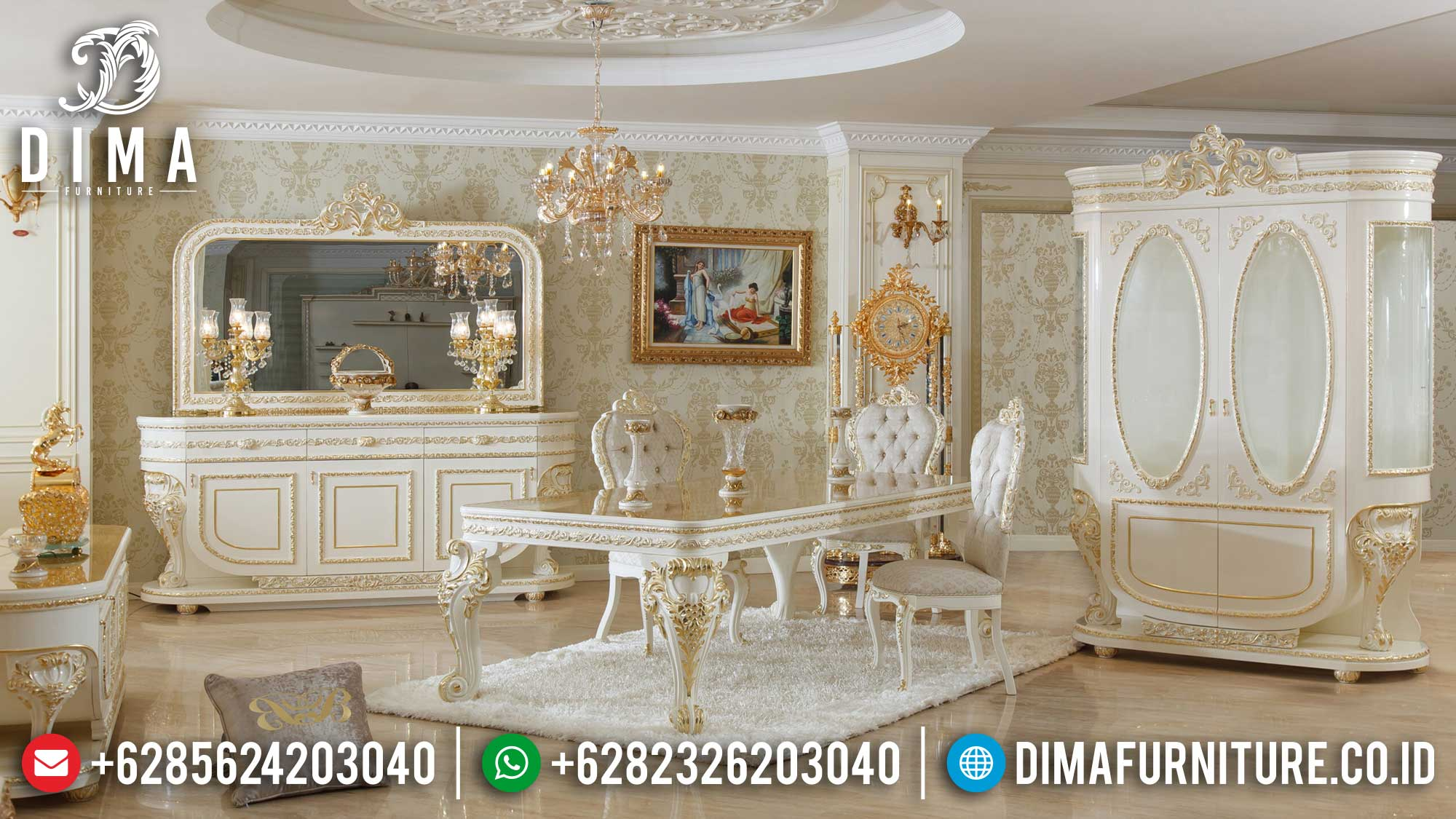 Jual Meja Makan Mewah Ukir Jepara Classic Style Luxury Royal Design Mm-0784