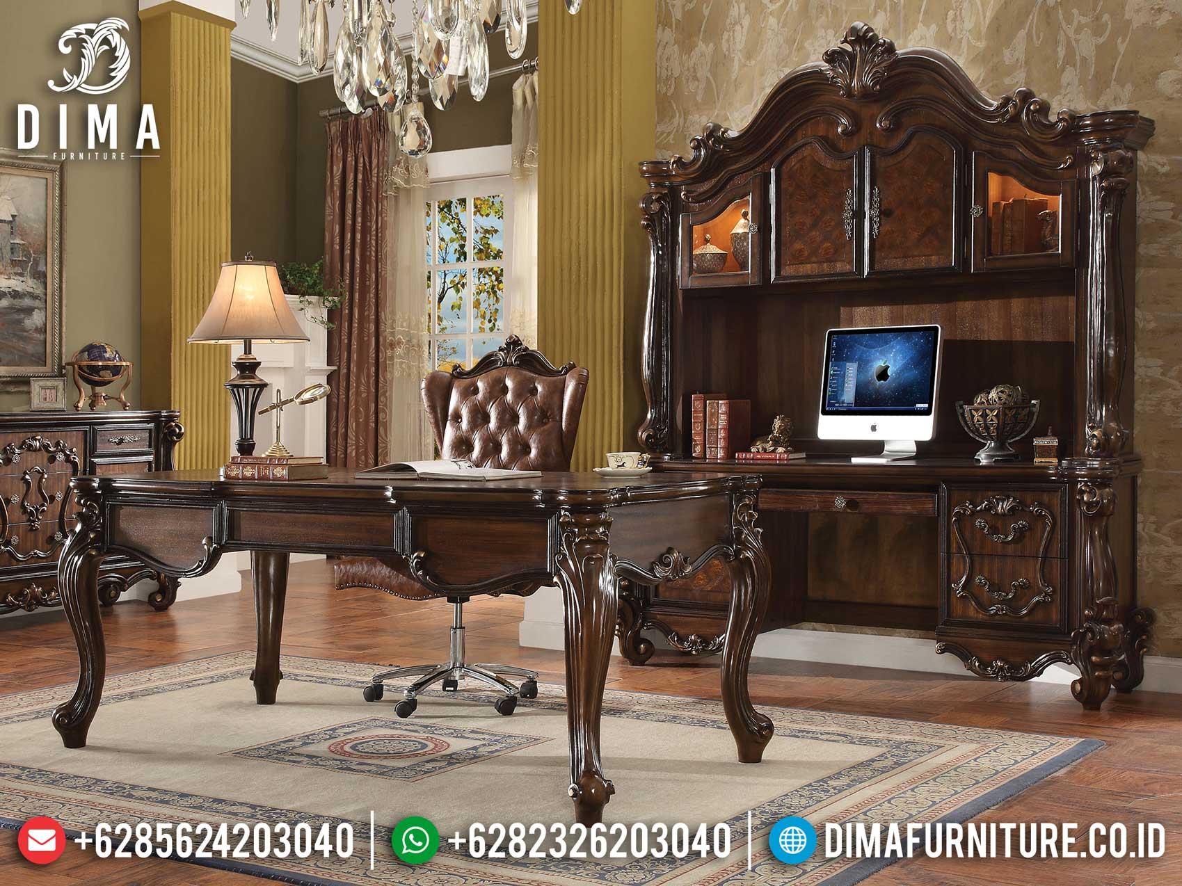Luxury Meja Kantor Direktur Mewah Elegant Style Natural Jati Perhutani Mm-0812