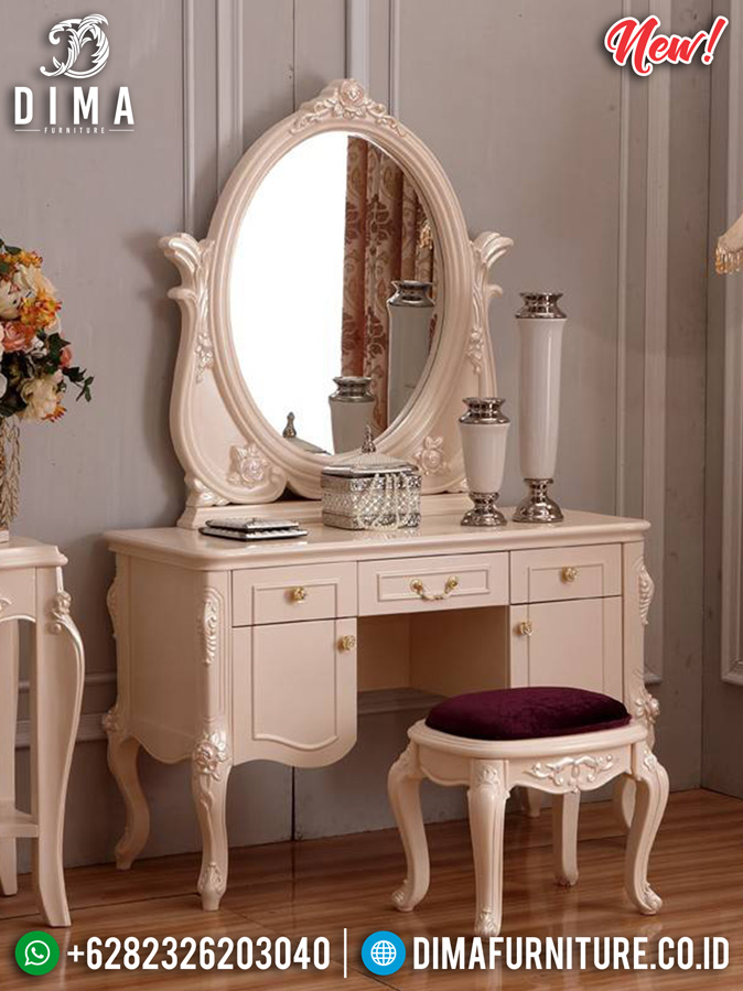 Meja Rias Minimalis Putih Evelyne Luxury Classic High Quality Jepara MM-0797