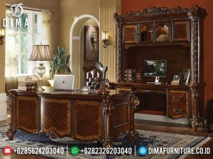 Model Meja Direktur Mewah Jati Natural Klasik Luxury Carving Jepara MM-0809