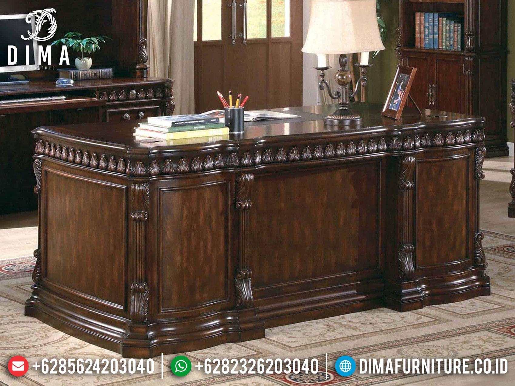 Pre Order Meja Kantor Direktur Mewah Natural Jati Classic Mebel Jepara MM-0816