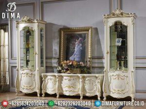 Set Meja TV Mewah Dan Lemari Hias Ukiran Luxury New White Duco Combination Color MM-0776