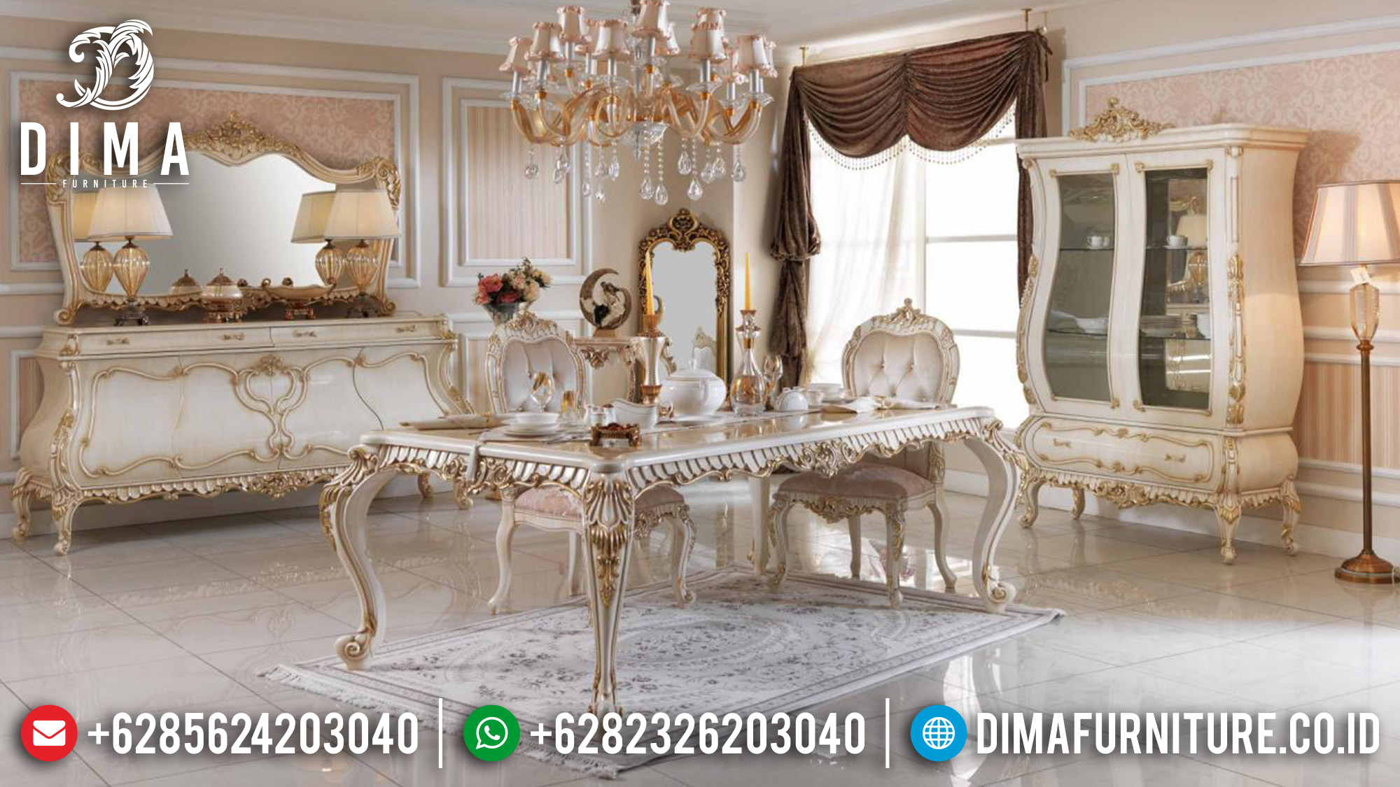 Available Meja Makan Mewah Ukiran Luxury Carving Mebel Jepara Terbaru MM-0875