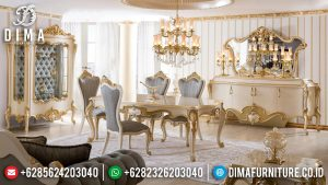 Desain Meja Makan Mewah Ukir Golden Leaf Luxury Royals Furniture Jepara MM-0874