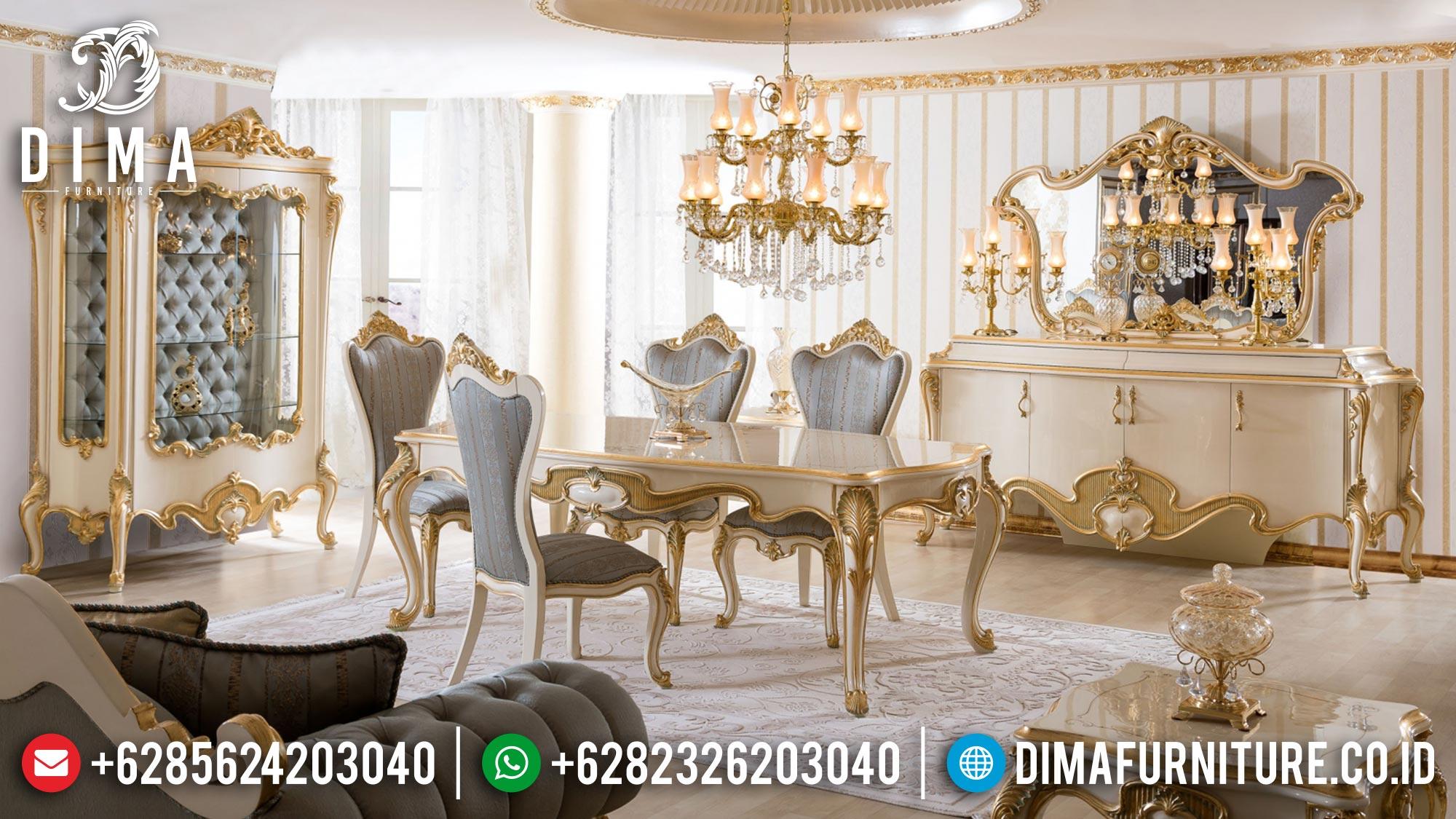 Desain Meja Makan Mewah Ukir Golden Leaf Luxury Royals Furniture Jepara MM-0874