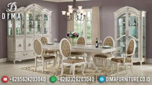 High Design Style Meja Makan Jepara Klasik Luxury Carving White Ivory Color MM-0864