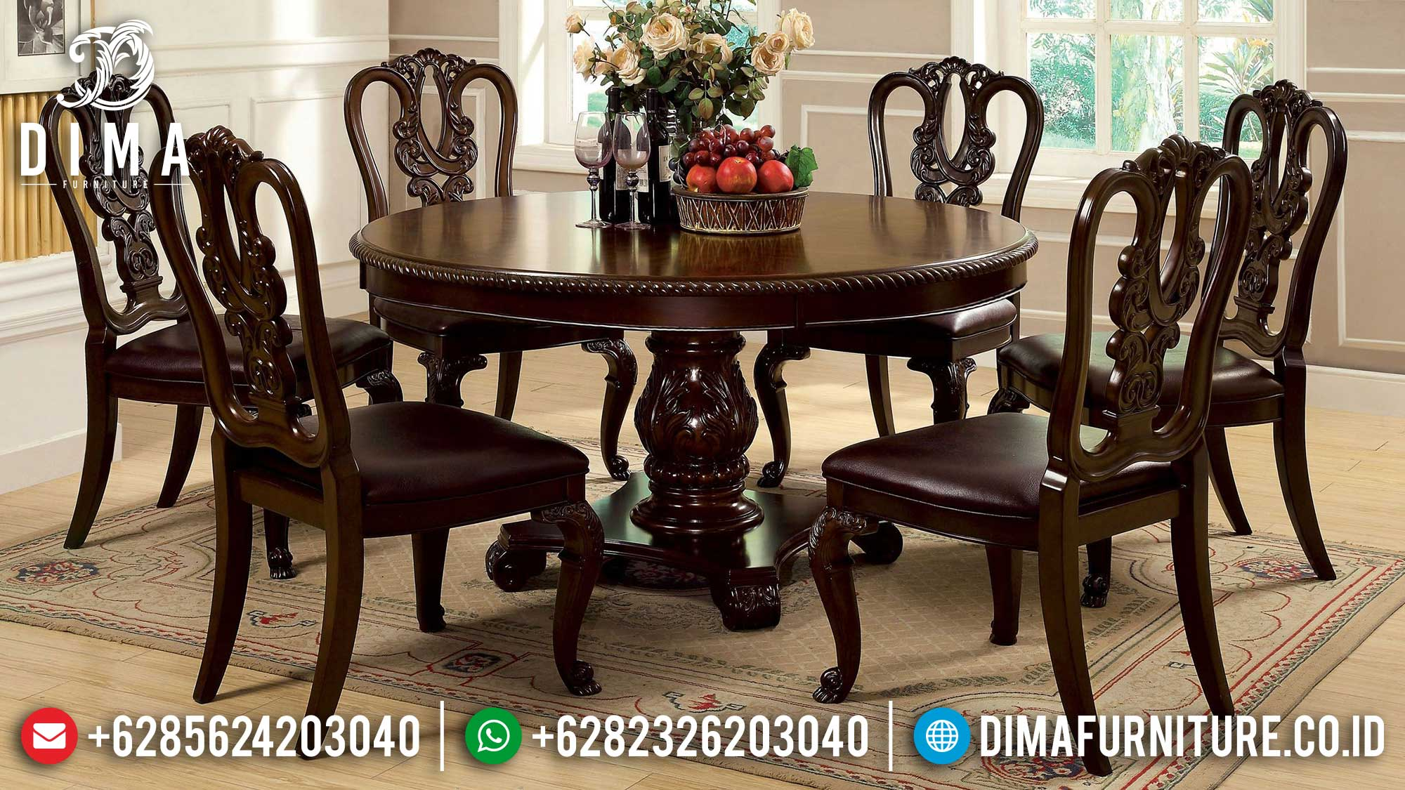 Model Meja Makan Minimalis Bundar Jepara Loving Design Luxury MM-0870