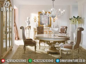 Available Meja Makan Mewah Bundar Kursi 4 Luxury Carving Furniture Jepara MM-1021