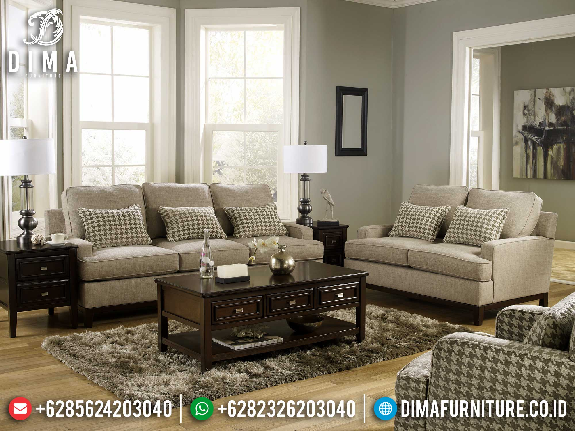Best Seller Sofa Tamu Minimalis Jepara Classic Natural Jati Perhutani Mm-0938