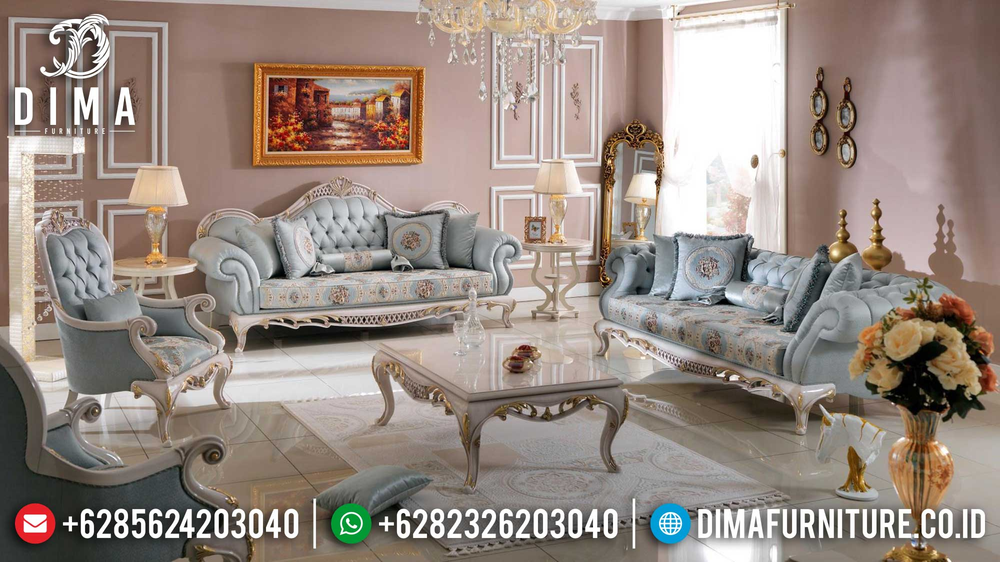 Classical Design Sofa Tamu Mewah Jepara Luxury Carving Greatest Item Mm-0986