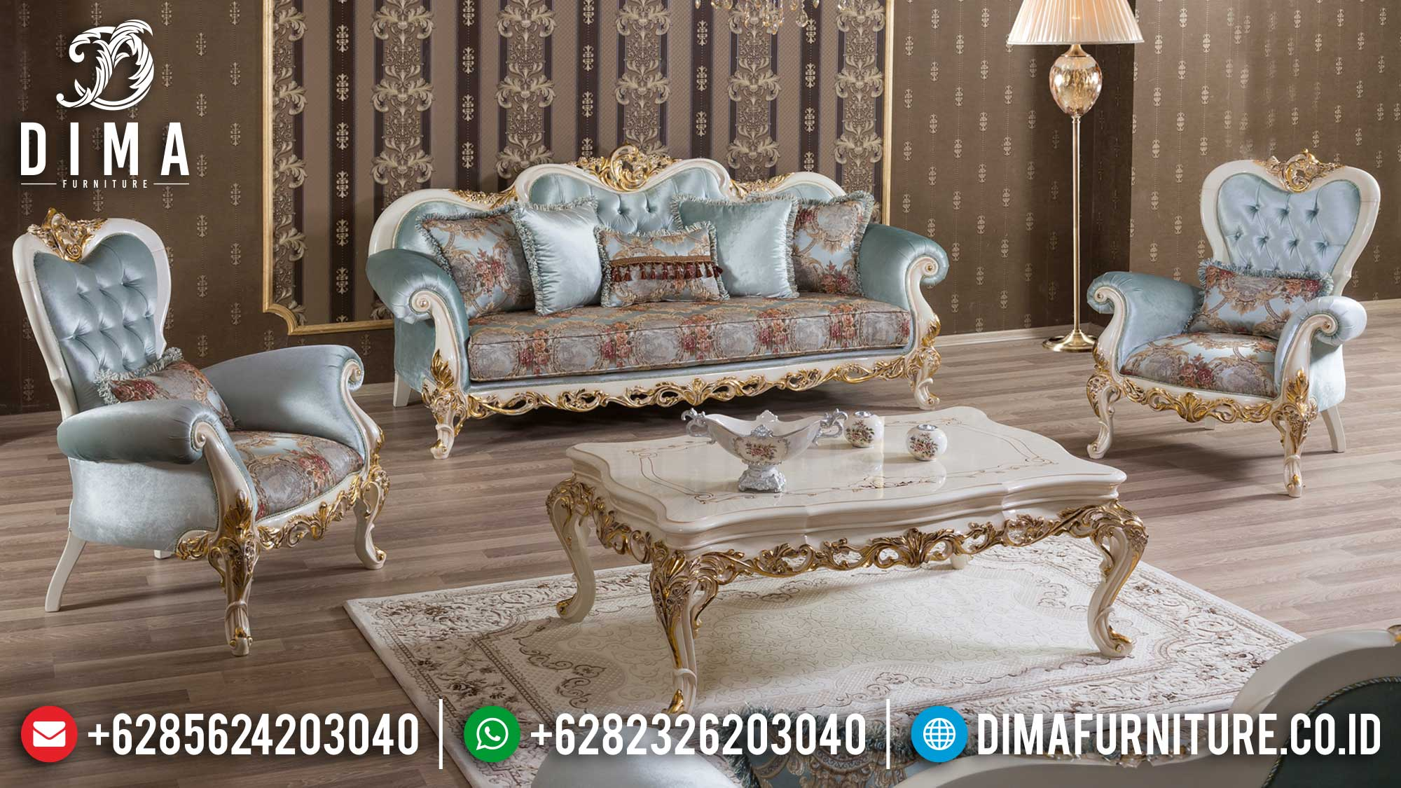 Desain Mewah Sofa Tamu Jepara Terbaru Elegant Carving New Luxury Item Mm-0949