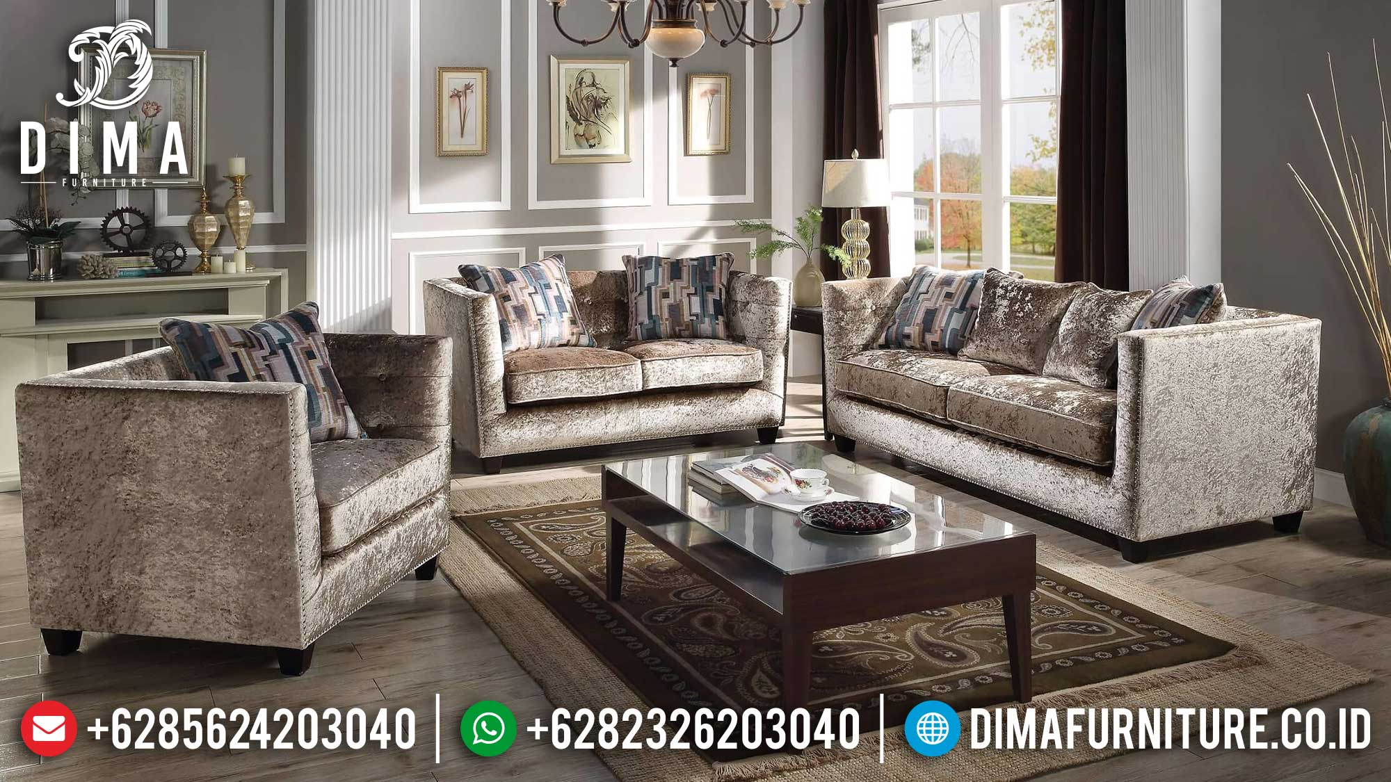 Excellent Fabric Sofa Tamu Minimalis Jepara Terbaru Natural Jati Perhutani Mm-0976