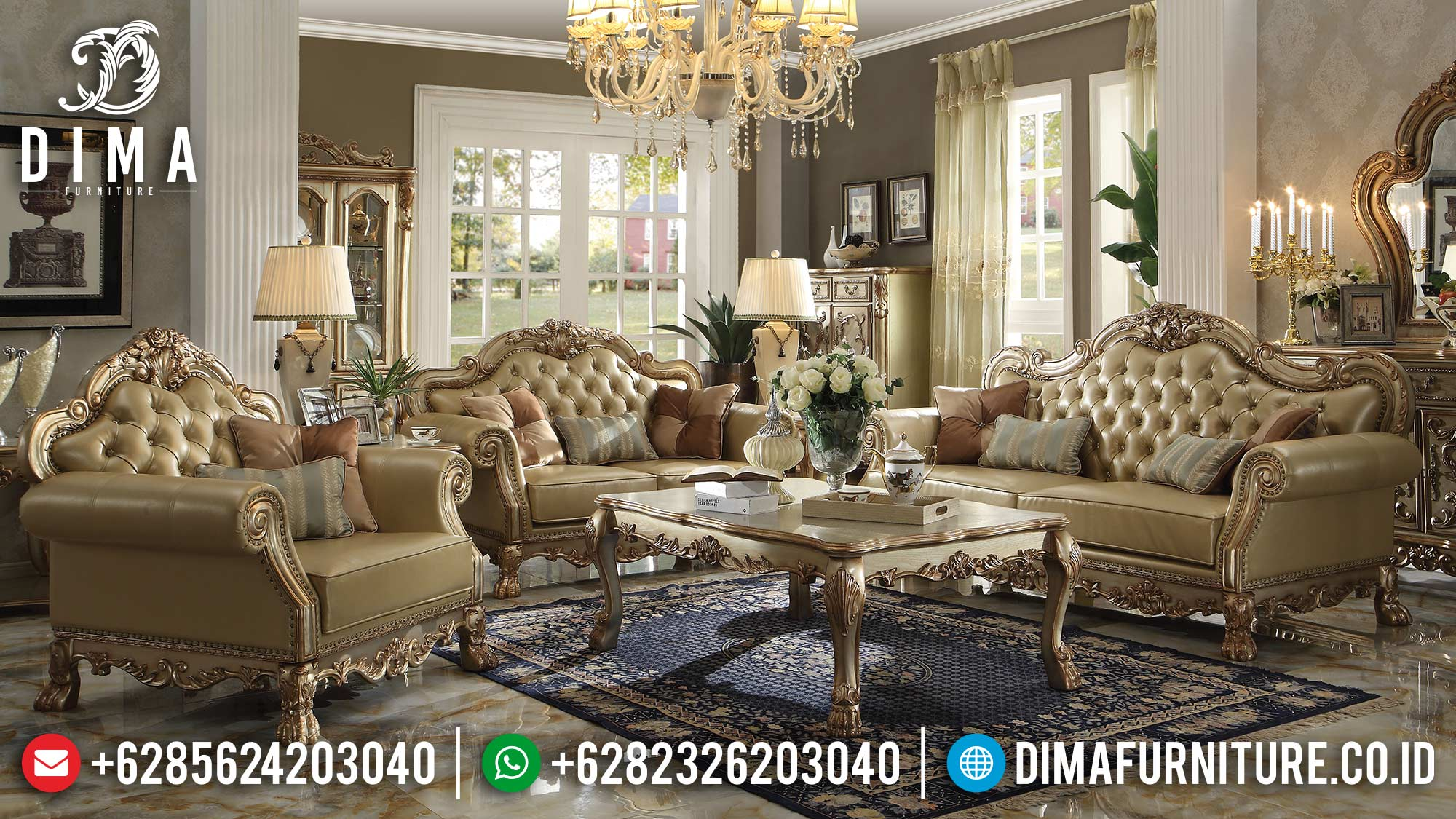 Flash Sale Sofa Tamu Mewah Ukiran Jepara Luxury Carving Classic Furniture Jepara MM-0905