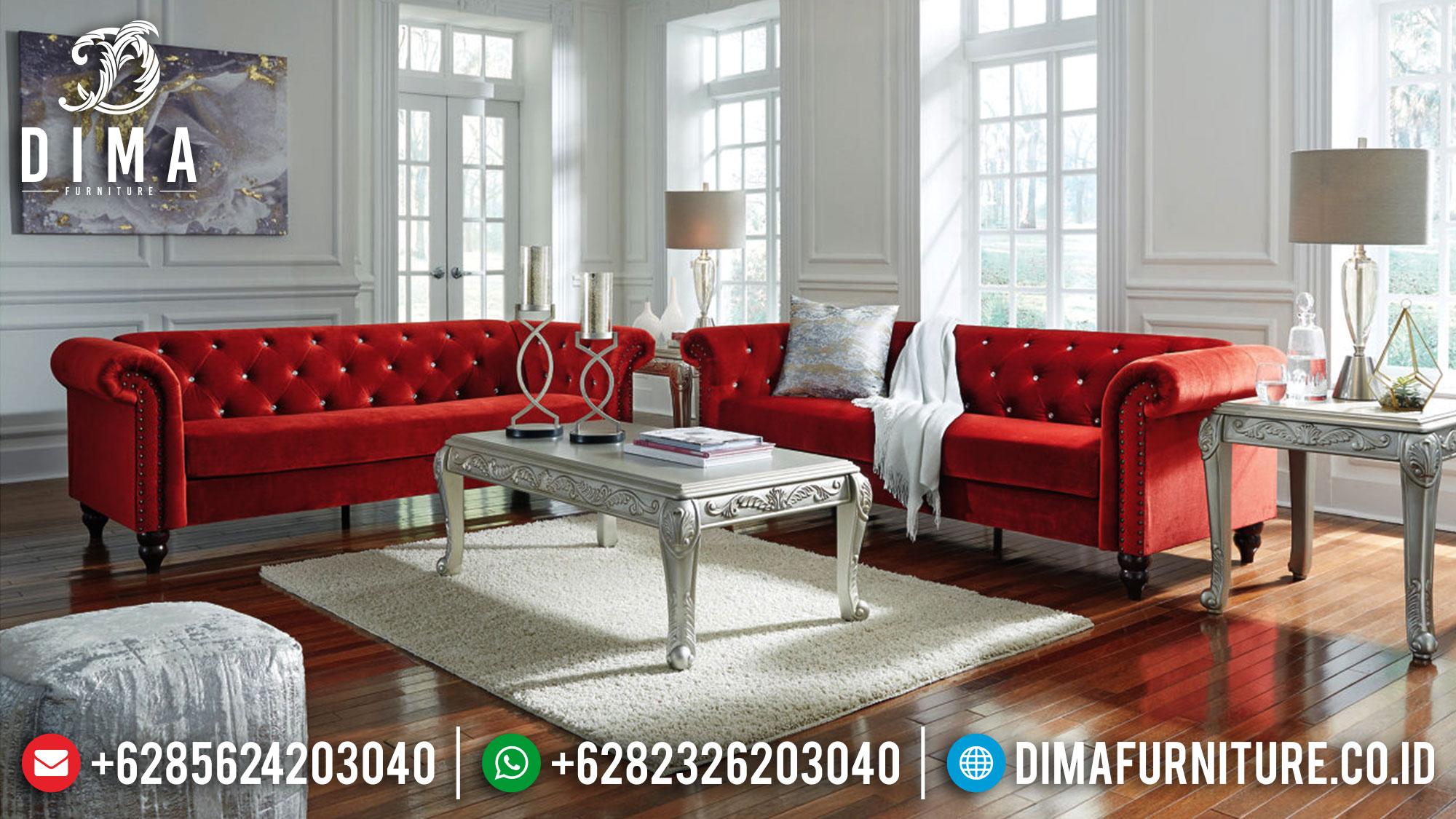 Flash Sale Sofa Tamu Sudut Chesterfield Minimalis Design Red Soft Fabric Mm-0977