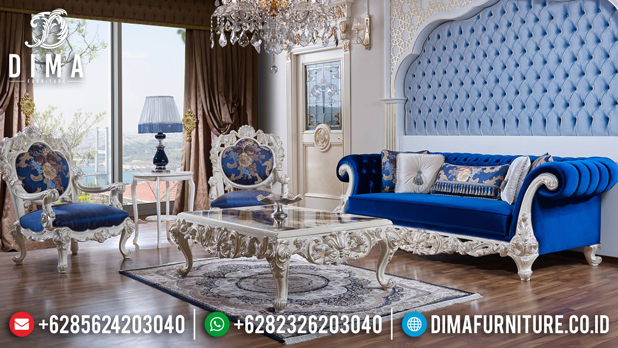 For Sale Sofa Tamu Ukir Jepara White Duco Combination Color Luxury Classic Mm-0991