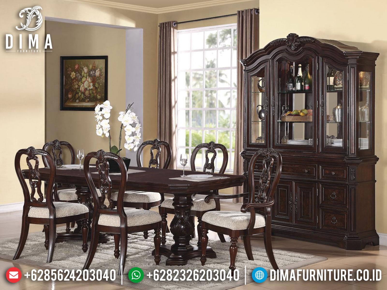Glorias Set Meja Makan Minimalis Klasik Natural Jati Perhutani Jepara Luxury Mm-1004