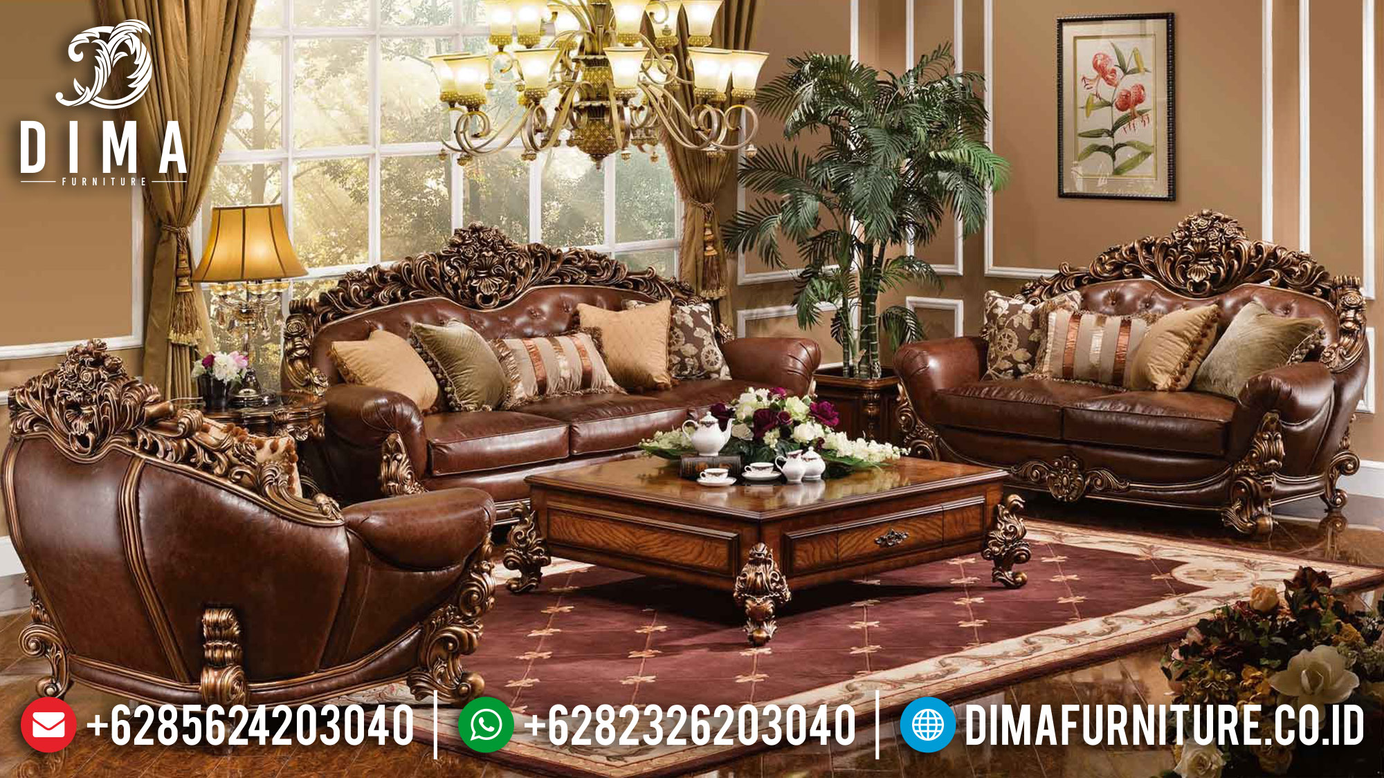 Glorious Design Sofa Tamu Mewah Ukiran Jepara Luxury Sets Mebel Jepara Mm-0981