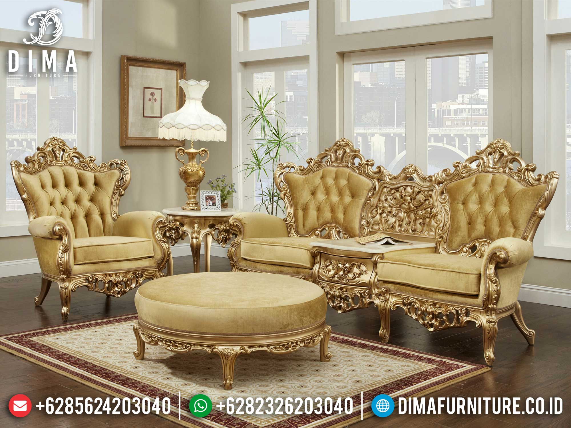 High Class Sofa Tamu Jepara Mewah Terbaru Golden Shine Color Luxury Mm-0908