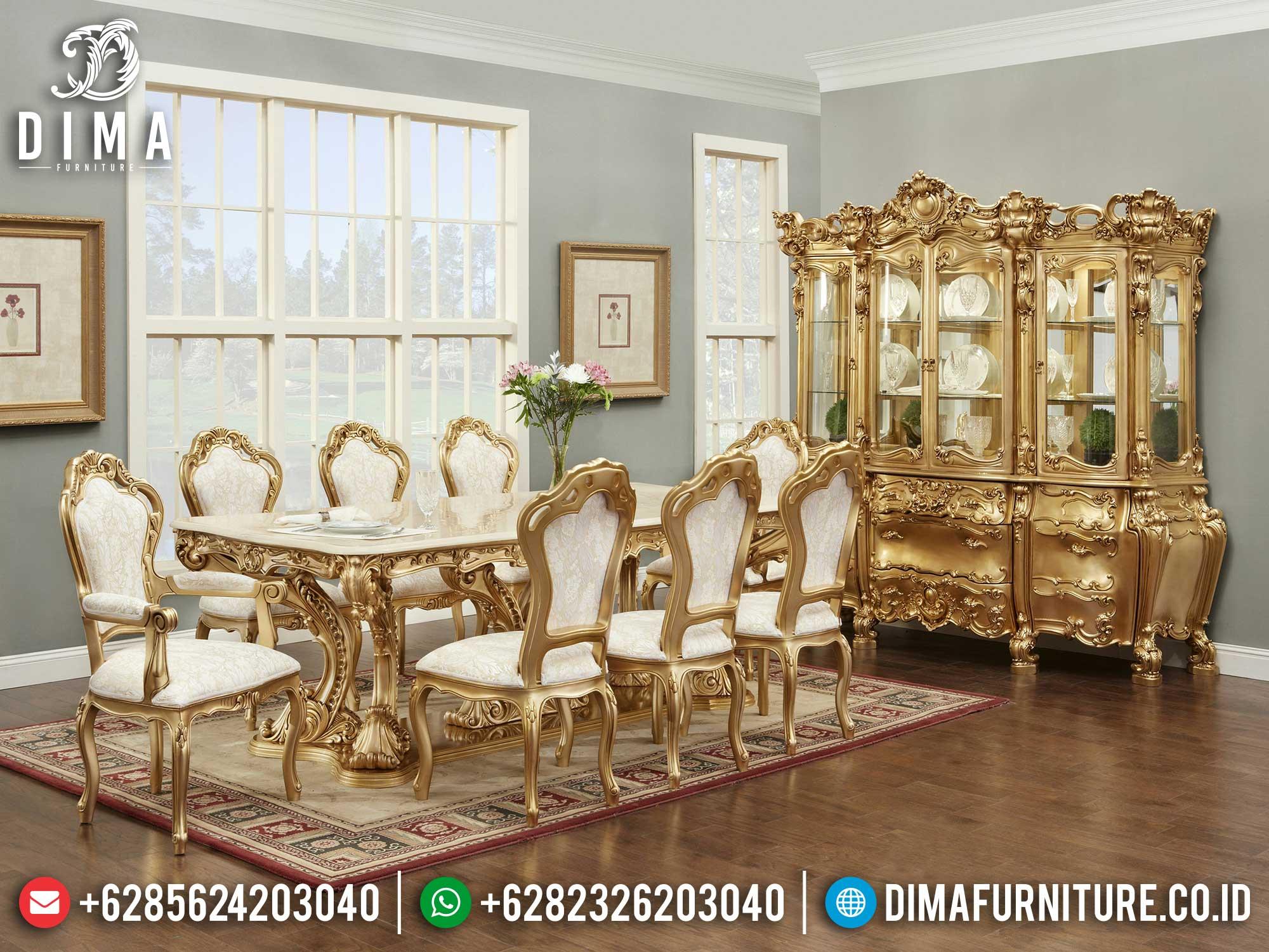 Jual Meja Makan 8 Kursi Klasik Jepara Great Golden Shining Duco Color Luxury Mm-1012