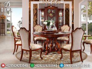 Kursi Meja Makan Jati Set Meja Makan Bundar Natural Luxury Color MM-1013