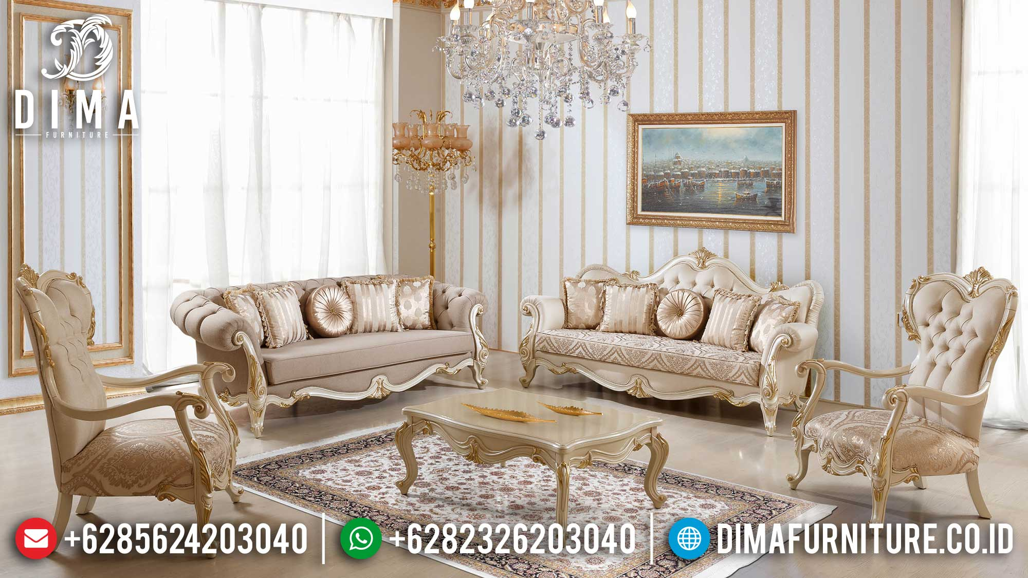 Luxurious Set Sofa Tamu Mewah Jepara Baroque Palace Style Best Quality Mm-0964