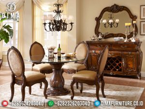 Meja Makan Bundar Jati Classic Luxury Natural Dark Salak Brown Glossy MM-1010
