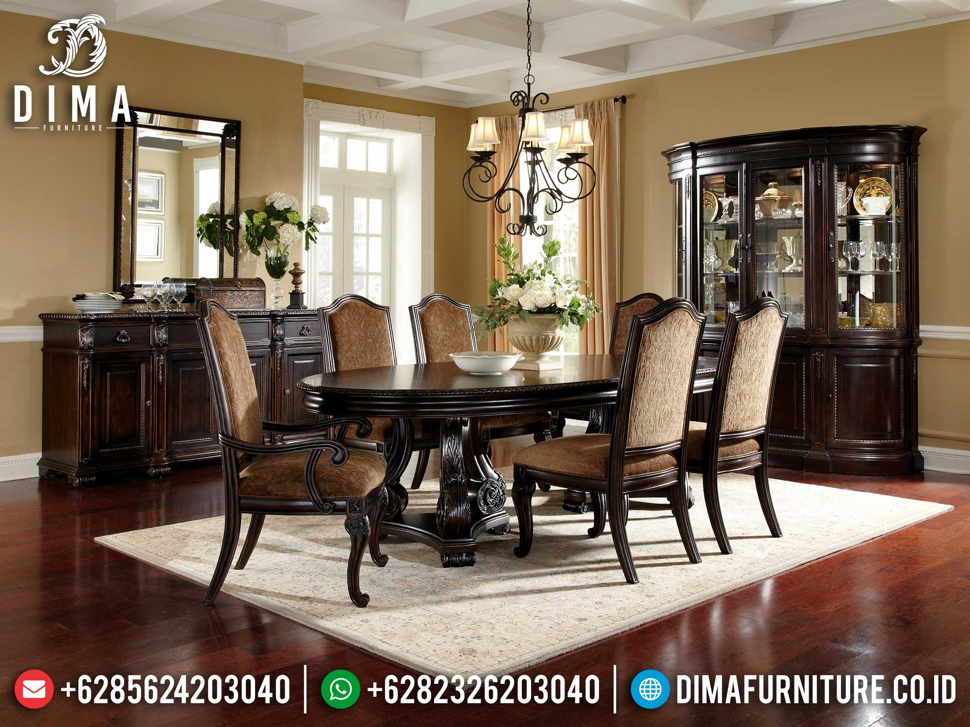 Meja Makan Jati Jepara Klasik Natural Dark Brown Luxury Carving Mm-1009