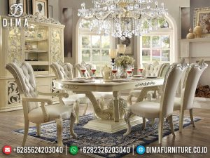 Meja Makan Jepara Klasik Style Luxury Carving White Duco Glossy New 2021 MM-1007
