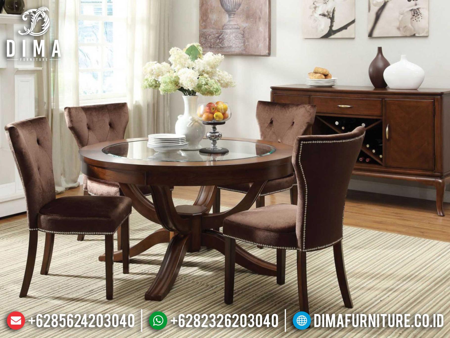 Meja Makan Mewah Jati Classic Luxury Simple Elegant Model Mm-1022
