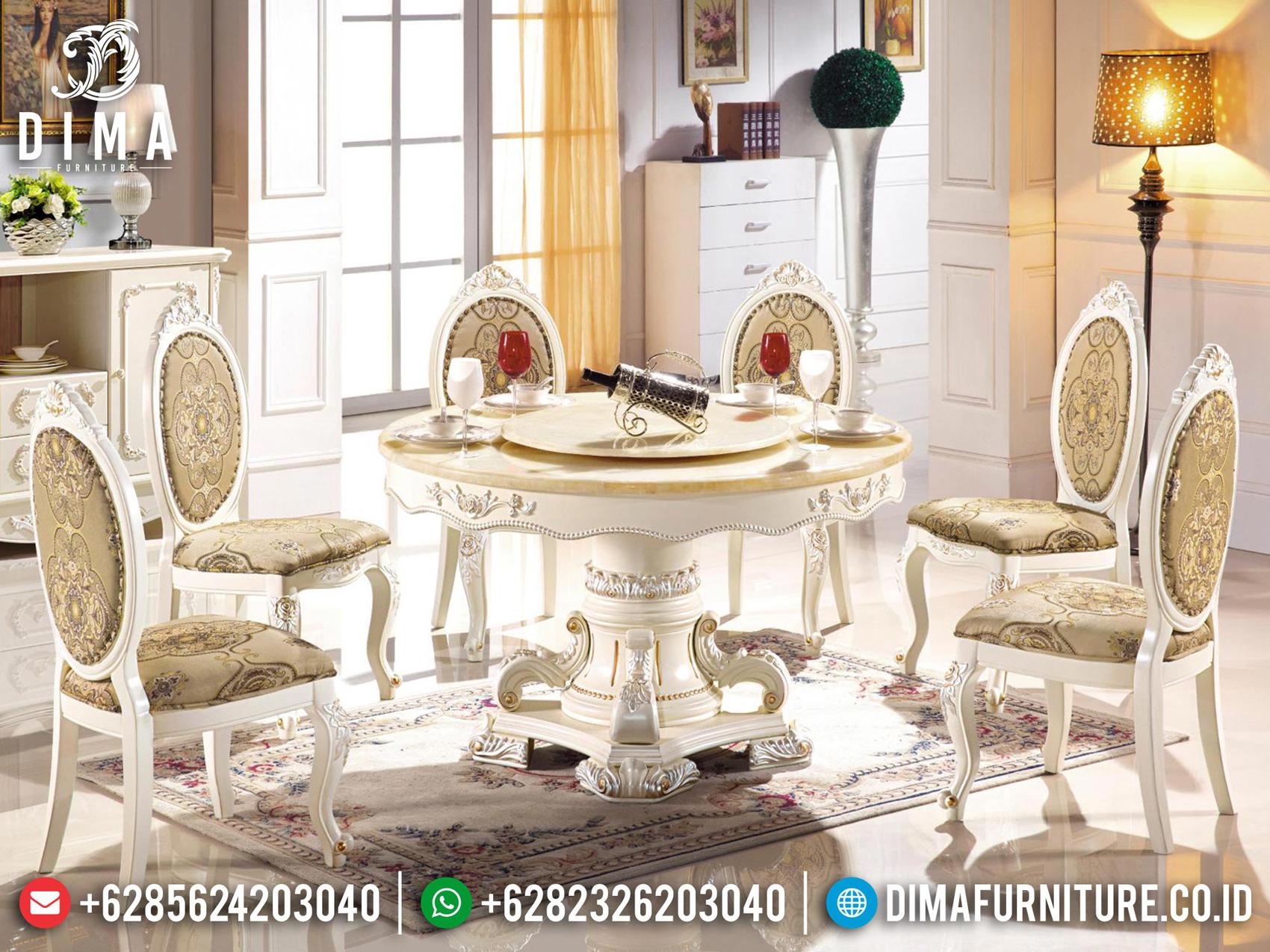 Meja Makan Mewah Klasik Jepara Glamorous Set Luxury Model Carving Mm-1018