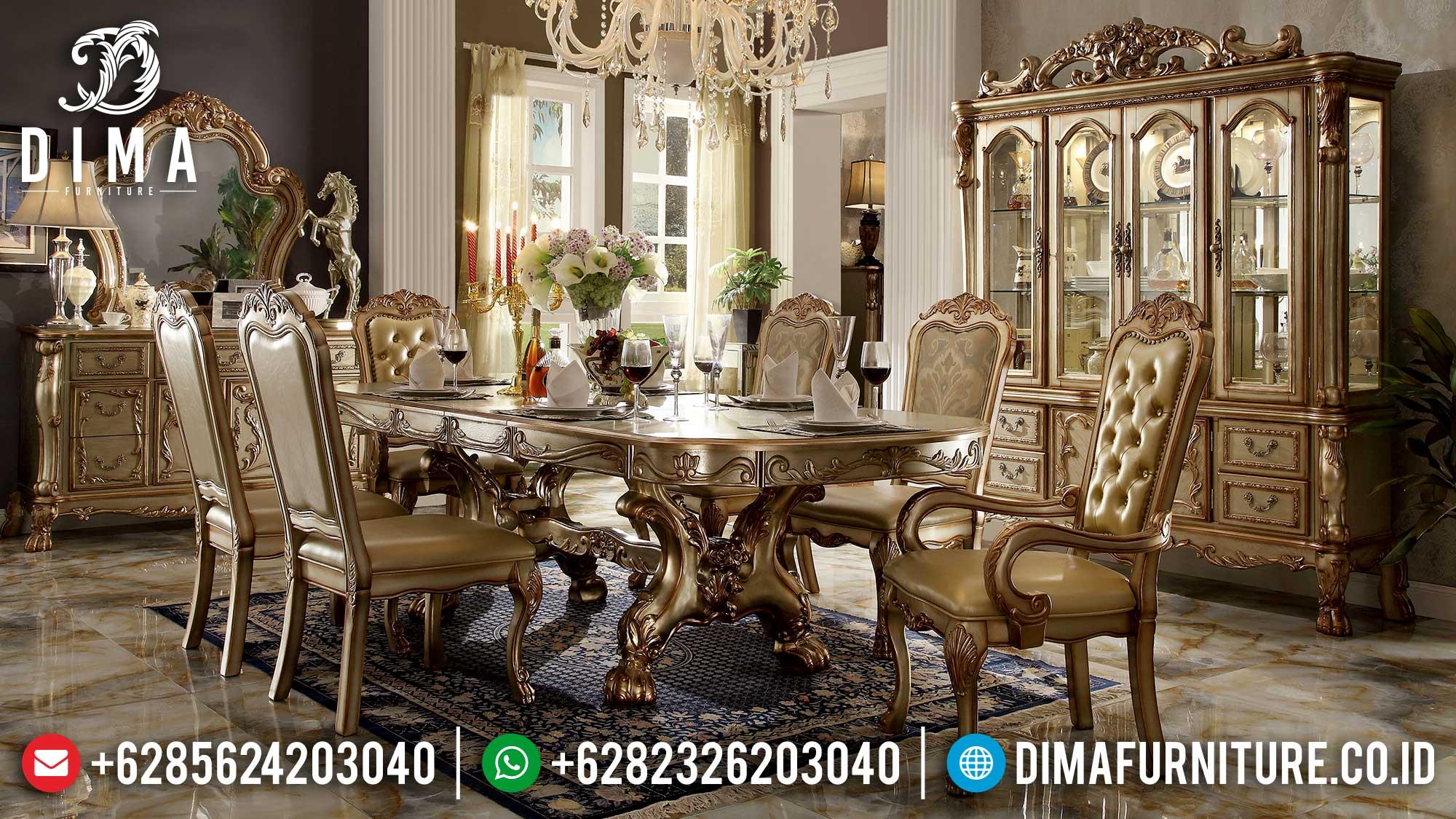 Meja Makan Mewah Terbaru Luxury Gold Shiny Imperial Majestic Design MM-1023