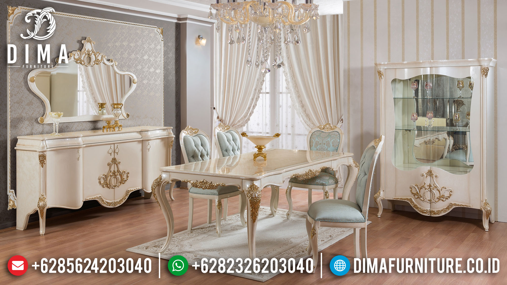 Meja Makan Mewah Veronica Luxury Carving Palace Empire Style Furniture Mm-1024