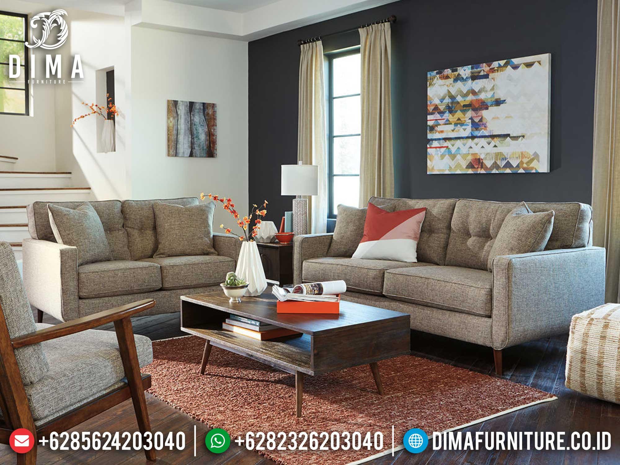 New Set Sofa Tamu Kayu Jati Perhutani Simple Design Natural Salak Brown Mm-0930
