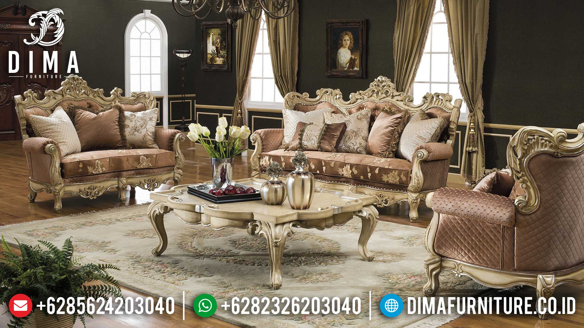 Set Sofa Tamu Ukiran Jepara Luxury Elegant Design Furniture Jepara Terbaru Mm-0980