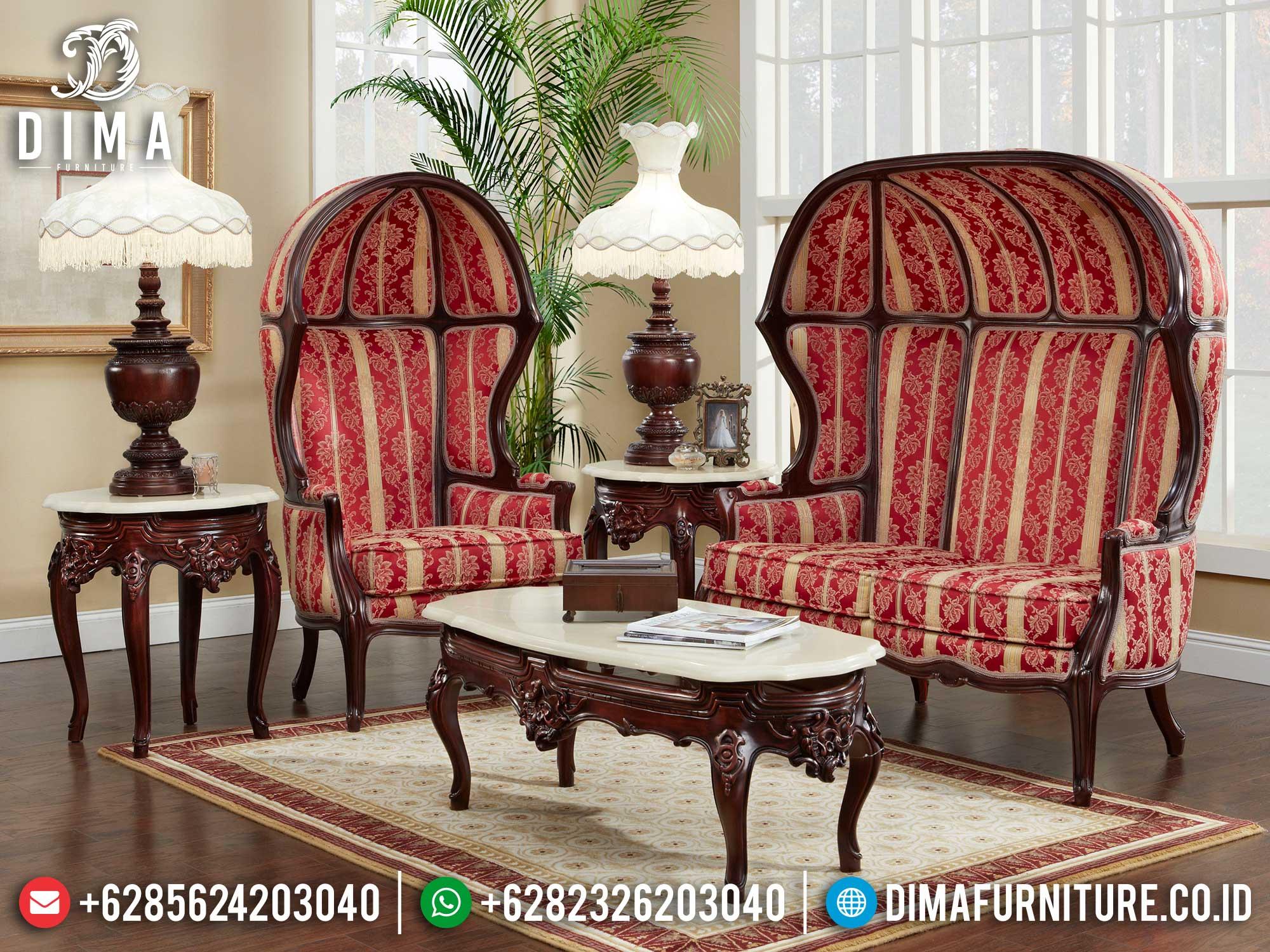 Sofa Tamu Mewah Desain Kubah Luxury Classic Natural Dark Color Mm-0935