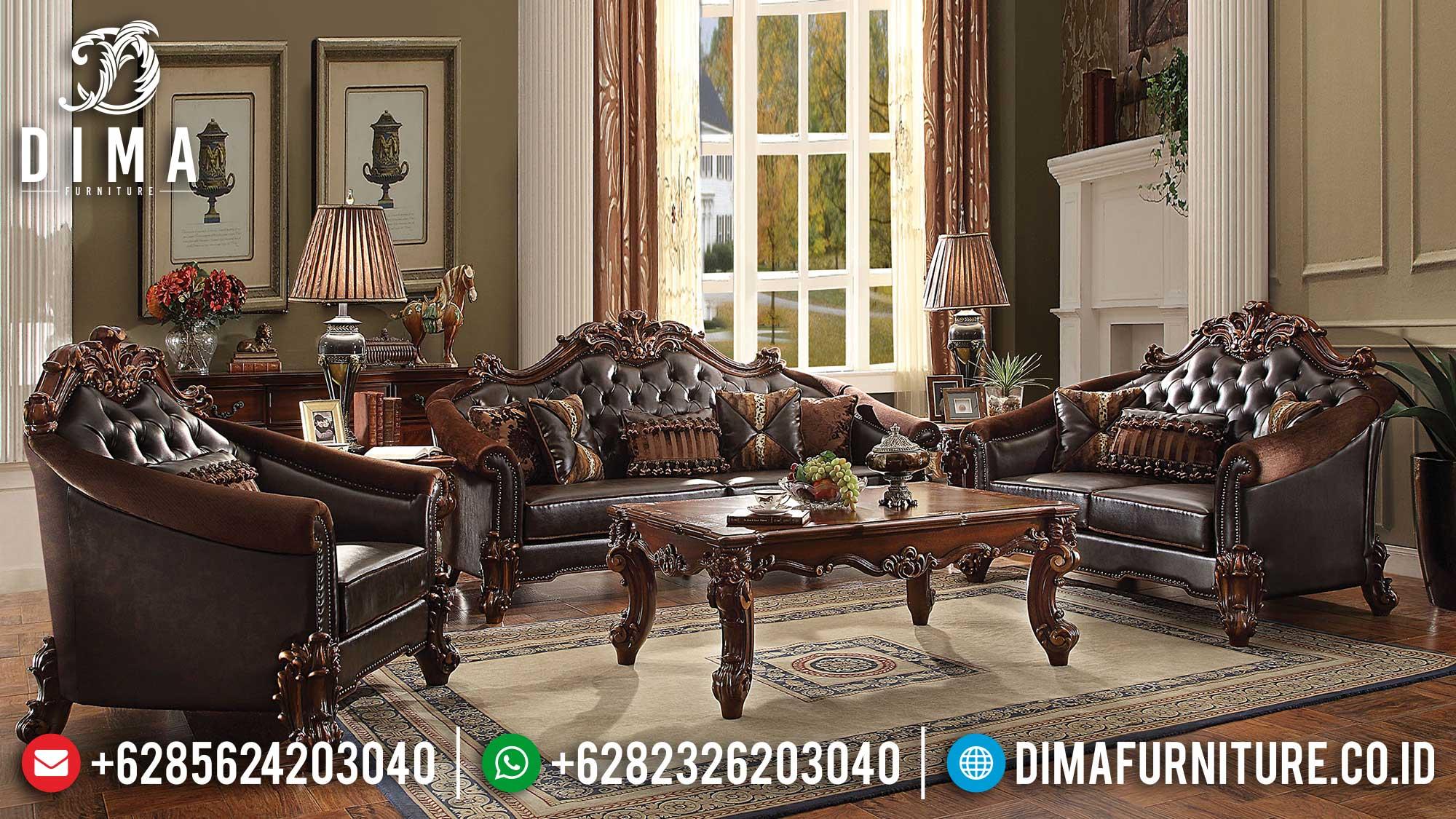 Sofa Tamu Mewah Jati Luxury Carving Classic Excellent Color Natural Salak Brown Mm-0982