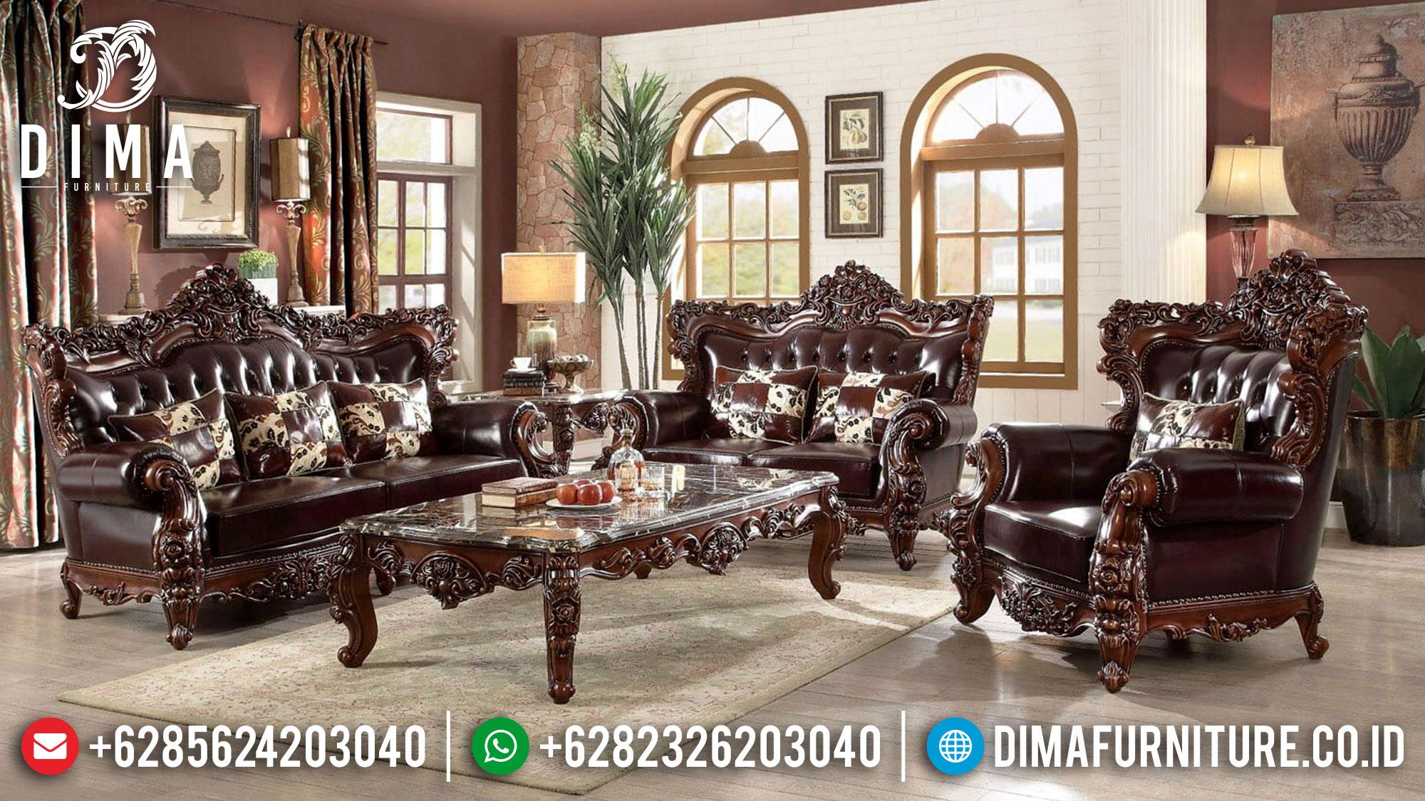 Sofa Tamu Mewah Jati Perhutani Jepara Luxury Natural Salak Brown Classic Mm-0939