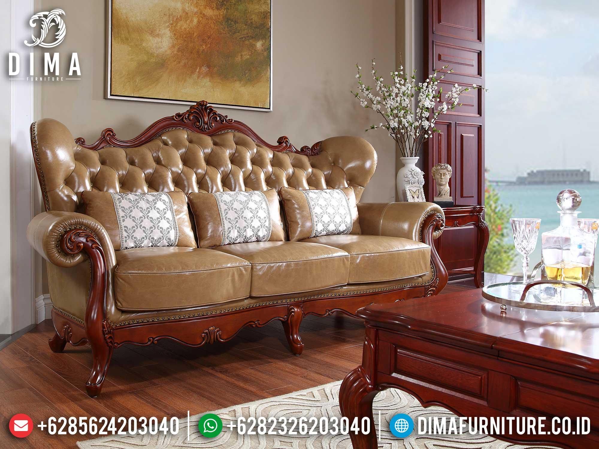 Sofa Tamu Mewah Jati Perhutani Natural Luxury Carving Jepara Terbaik Mm-0936