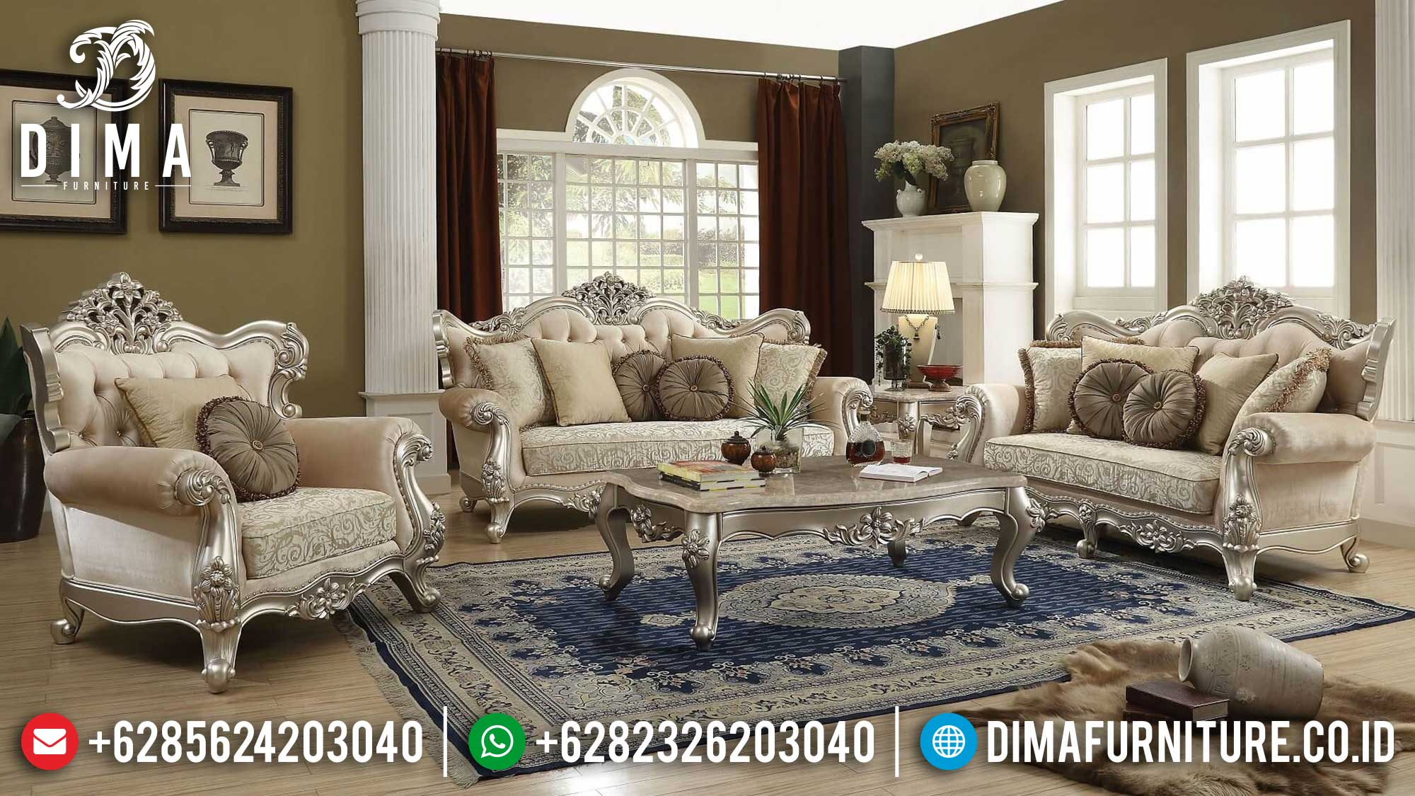 Sofa Tamu Mewah Jepara Roses Model Silver Luster Color New Luxury Duco Color Mm-0970