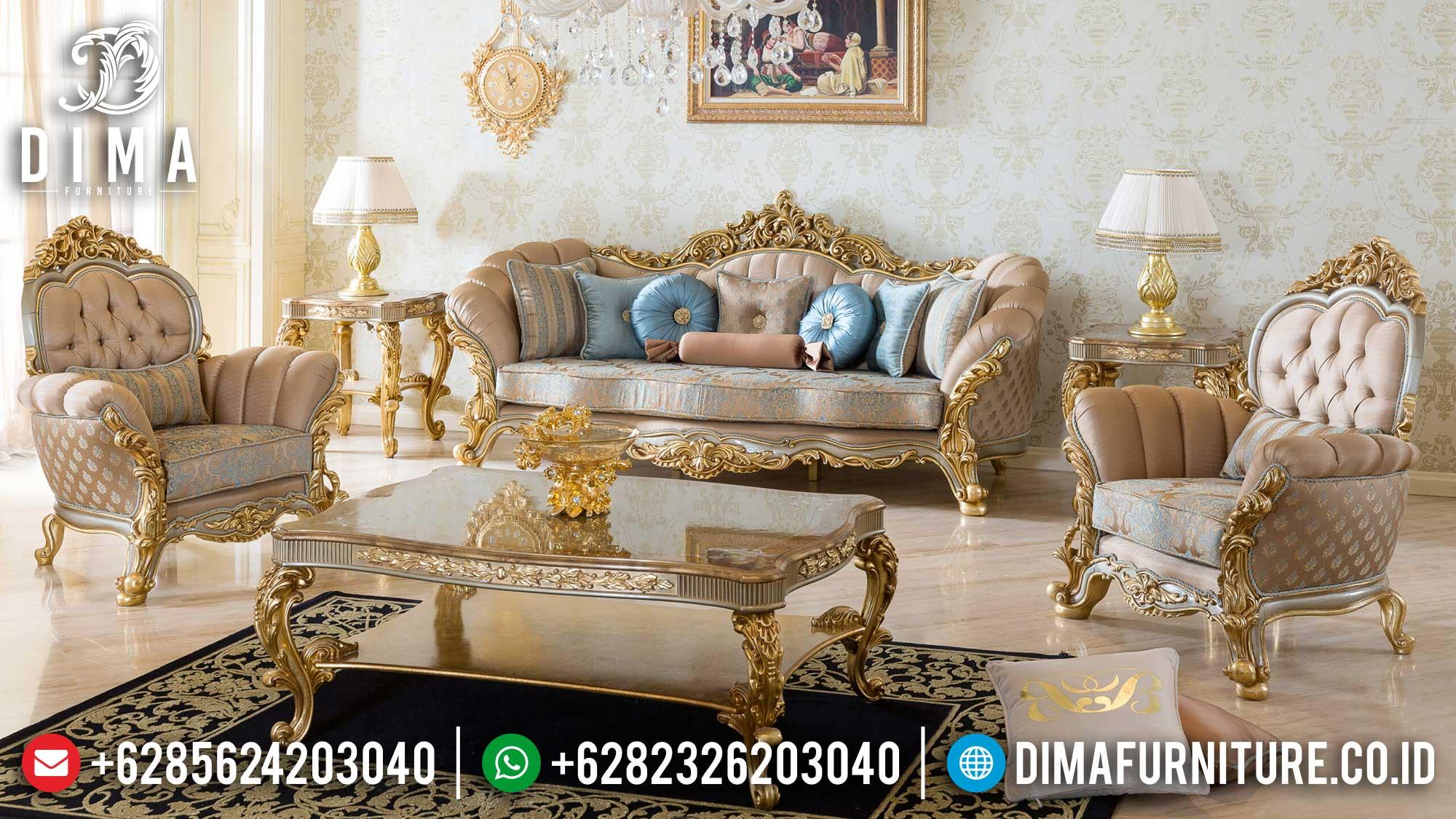Sofa Tamu Mewah Luxury, Kursi Sofa Tamu Elegant Carving, Meja Tamu Ukiran Jepara Asli Mm-0957