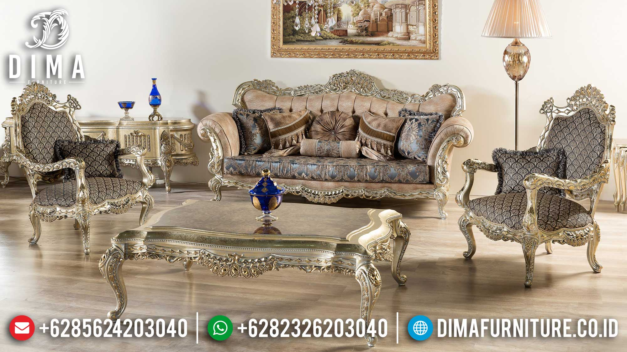 Sofa Tamu Mewah Terbaru Comfortable Design Luxury Classic Carving Jepara Mm-0963