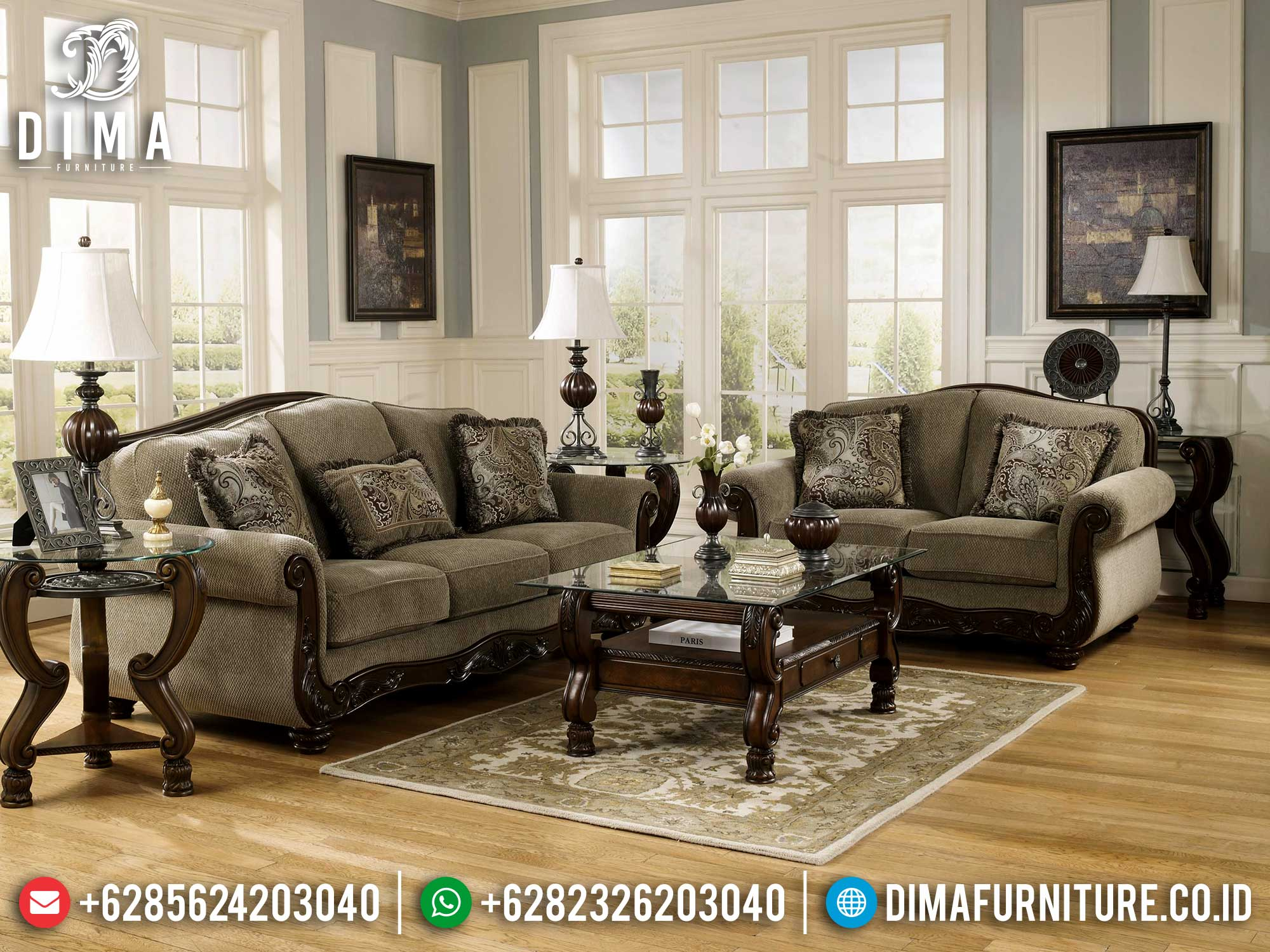Sofa Tamu Minimalis Jati Terbaru Luxury Classic Furniture Jepara Best Sale Mm-0933