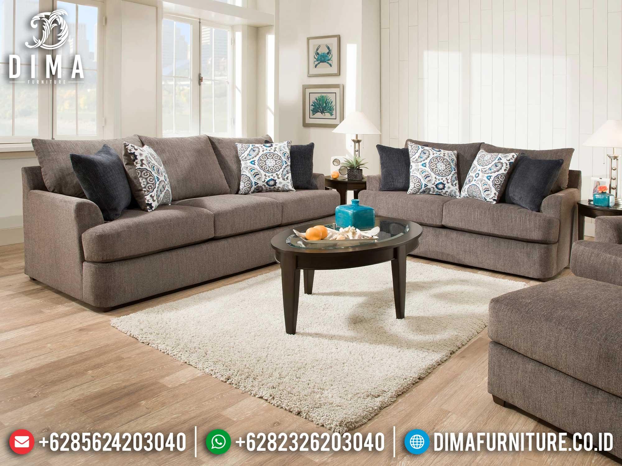 Sofa Tamu Minimalis Jepara Comfortable Design New Brown Fabric Color Mm-0934