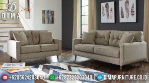 Sofa Tamu Minimalis Jepara Natural Jati Classic Brown Fabric Softly MM-0979