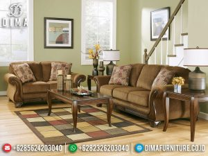 Sofa Tamu Minimalis Kayu Jati Natural Classic Luxury Simple Carving Motif MM-0931